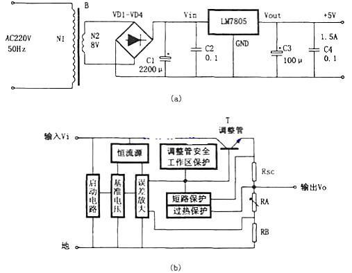 一,7805稳压电源电路图
