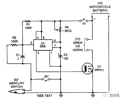 10,摩托车无线报警器电路图