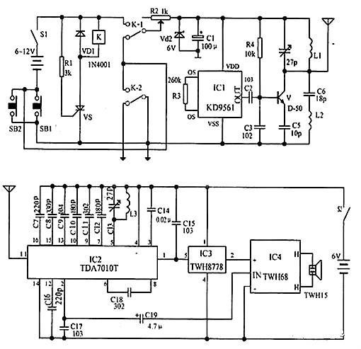一路由Q1,Q2,Q3,R1,R7,DW1,以及C2组成的典型晶体管串联稳压电路稳压
