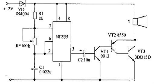 ne555构成音频振荡器电路,音频信号经其3脚输出,直接耦合至由三极管