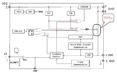 一路给u1的第2脚供电,另一路给光电耦合器件pc817供电,当第2脚开始