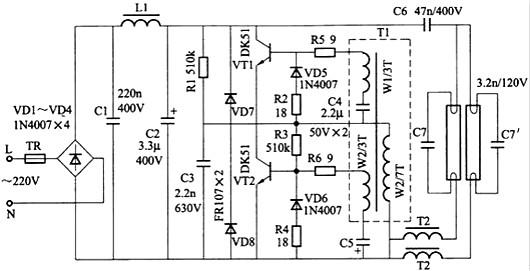 rl,c3组成起动电路,刚接通电源时,300v直流电压经r1对c3充电,当c3