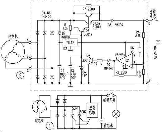 一、两种电子点火电路及其工作原理  上图和下图是两种点火器电路,其基本原理都是由主点火线圈L1向C1充电,控制线圈L2触发可控硅,使C1向L3放电,由L4感应出高压完成点火。 上图是一种自动跟踪电路。L2产生的相位脉冲由IC(2)脚输入,再由IC(1)脚输出。IC(12)、(13)脚及其外围元件设定的积分电压波形与内部进角电压波形比较。控制进角开关开通。 因此,IC(10)脚输出的信号会跟踪发动机转速度变化而自动调整点火提前。但这一电路在国产摩托车实际应用中故障率高。原因是点火器塑料盒子体积小,长宽只有6