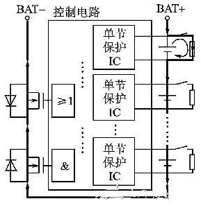 假设第1节锂电池先充电完成,进入过电压保护状态,则主电路及分流放电