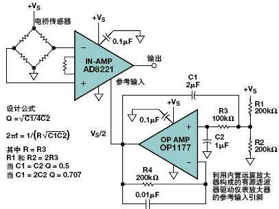 当对仪表放大器施加低幅度输入信号时,该电路的测试电源电压范围是4 v