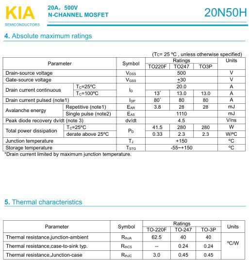 KIA20N50H,20A/ 500V,MOS管