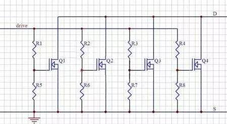 并联的一般电路图如下 上图中,r1-4为栅极驱动电阻,每个mos管都由独立