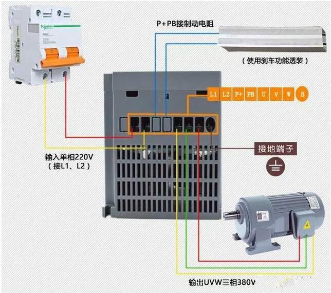电动机接线盒内两种接线方式示意图 第一种为星形(Y)接法,如图,把电机内部三相定子绕组的Z、X、Y端连接在一起,成为一公共点O,再从始端A、B、C引出三条端线,在接线盒内,分别通入U.V.W三相交流电(380V),提供电机运行电源,适用于3KW及以下的三相异步感应式电动机。 实物图如下:  第二种为三角形()接法,即将三相定子绕组的首尾对应连接,如图第一相绕组的A端与第三相绕组的Z端连接可视为U相,第二绕组B端与第一绕组的X端相连接可为V相,第三绕组C端与第二绕组的Y端相连接可为W相,再通过三条线连入接