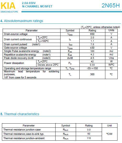 MOS管,2N65H,2.0A/650V