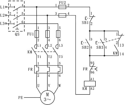 电路原理图-电动机单向两地控制线路 异地控制相对来说非常简单,要点