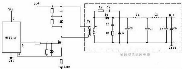 4,推挽式功率变换电路: q1和q2将轮流导通.