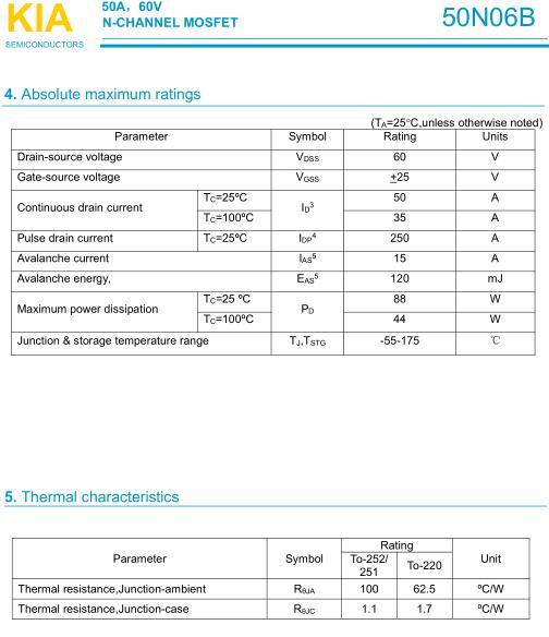 安定器,MOS管50N06BP,50A/60V