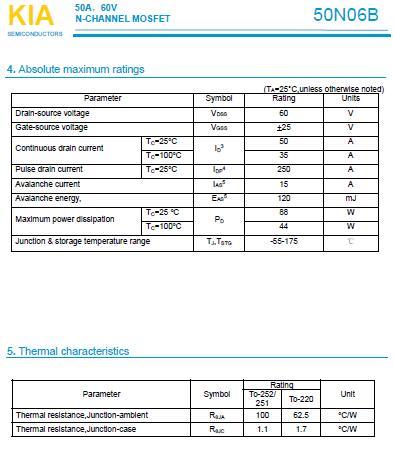 低压MOS管,50N06B,50A/60V