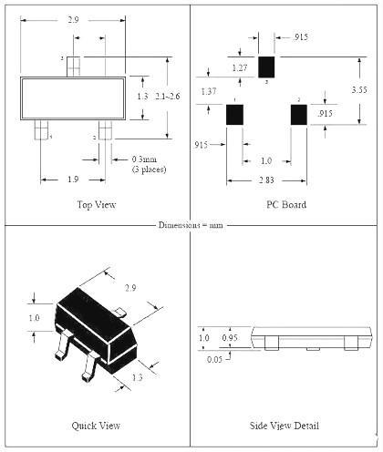 SOT-23MOS管封装图-SOT-23MOS管尺寸与引脚顺序-KIA MOS管