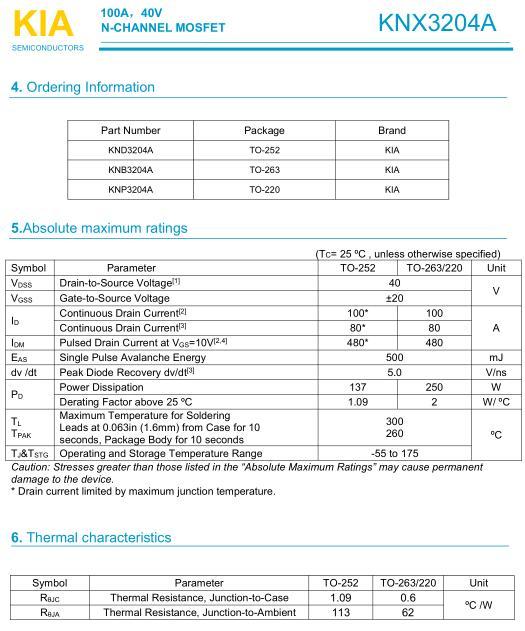 电动工具保护板3-4串,MOS管,KNX3204A,100A/40V