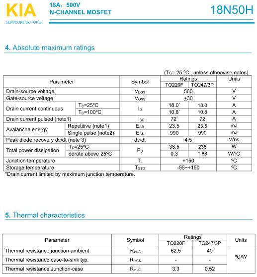 MOS管,KIA18N50H,18A/500V