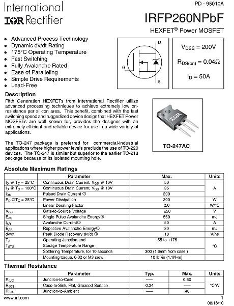 IRFP260,IRFP260参数,50A/200V