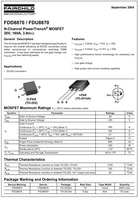 FDD8870替代,160A/30V,FDD8870参数