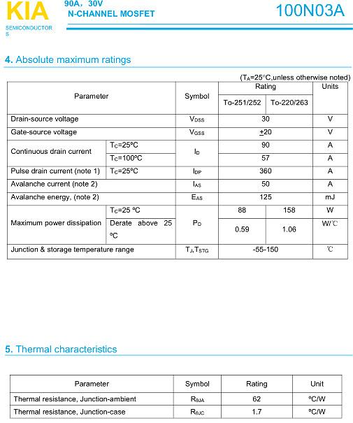3-4串保护板专用MOS管,100N03,90A/ 30V