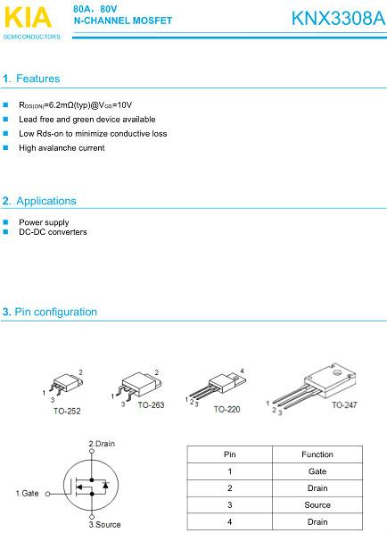 KNX3308,MOS管,电动车控制器
