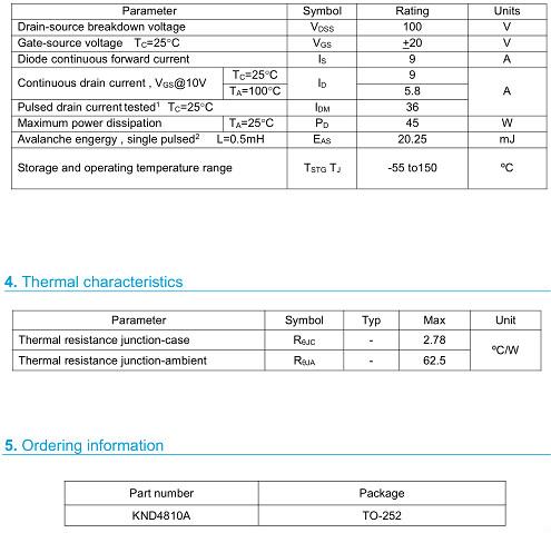 MOS管,4810,9A/100V